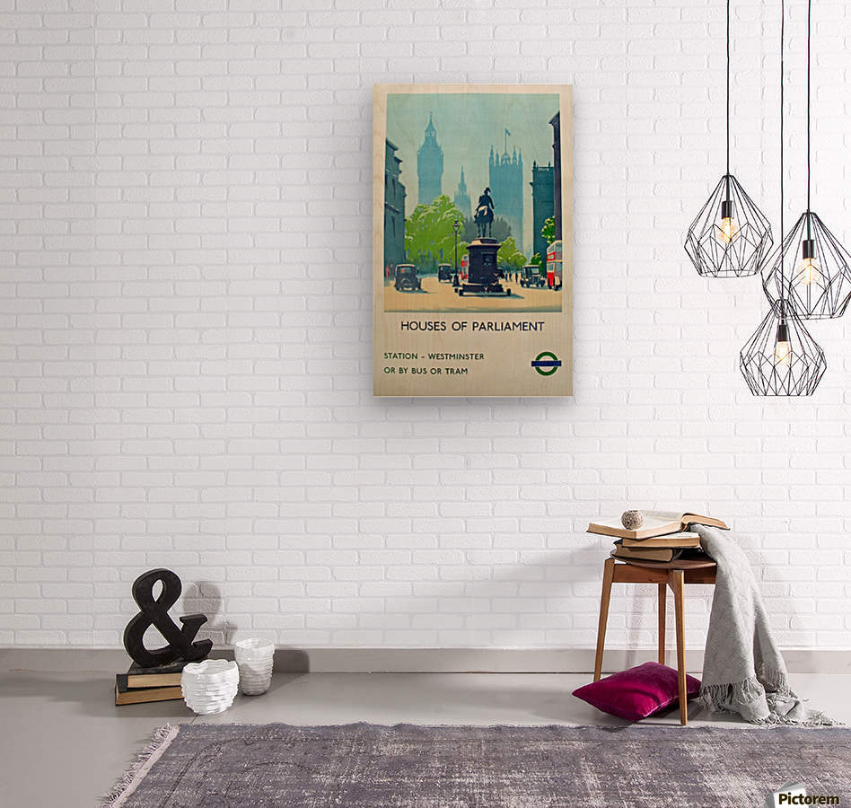 London Underground Houses of Parliament  Wood print