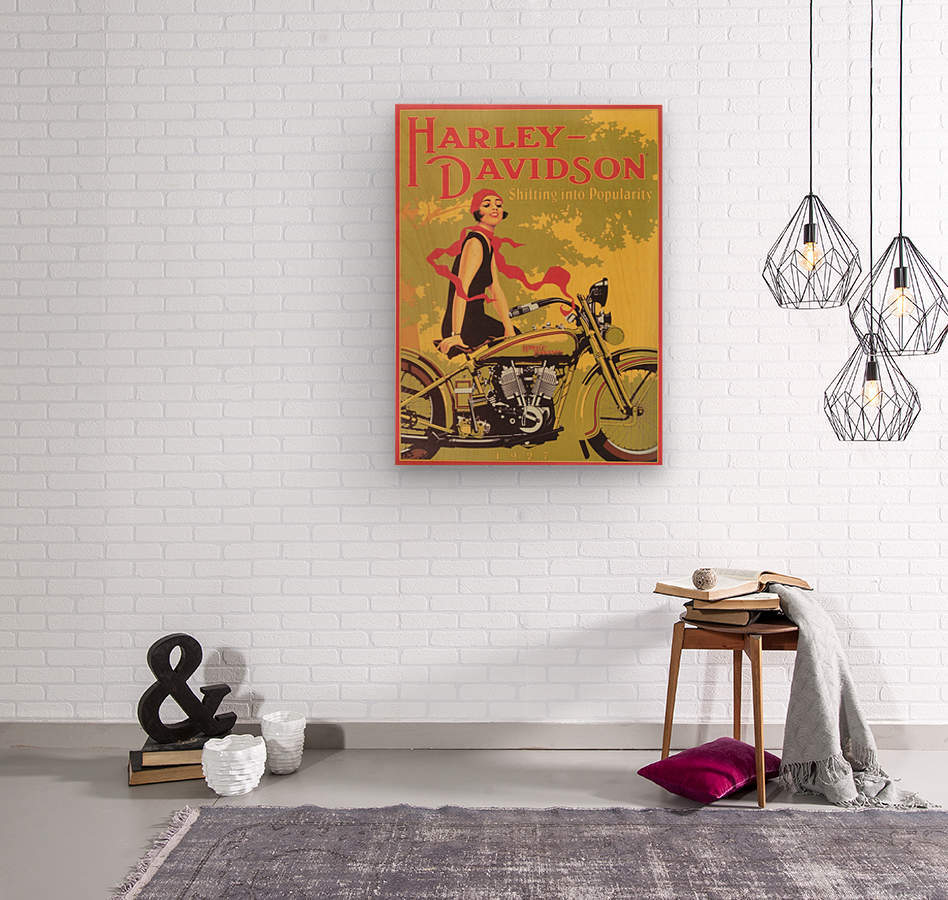 1929 Harley Davidson Shifting into Popularity  Wood print