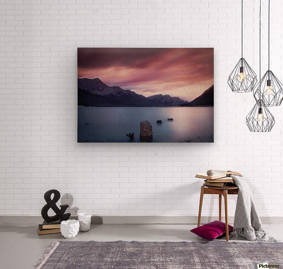 Spray Lake Sunset  Wood print