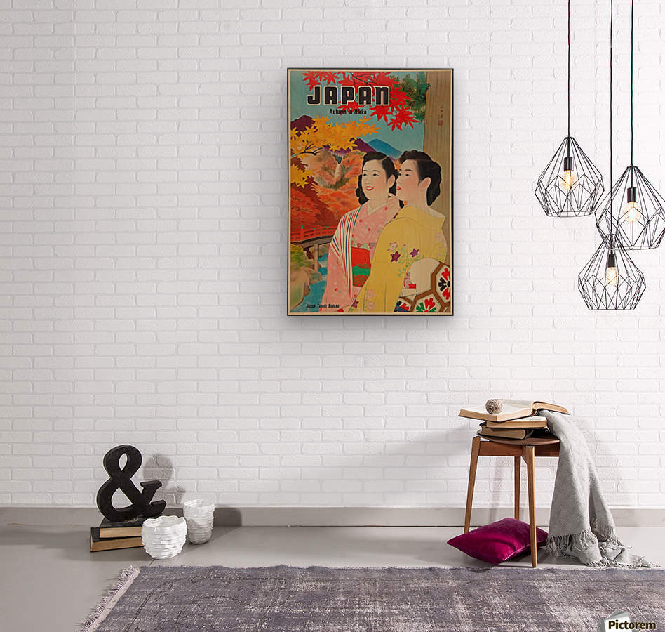 Japan Autumn in Nikko travel poster  Wood print