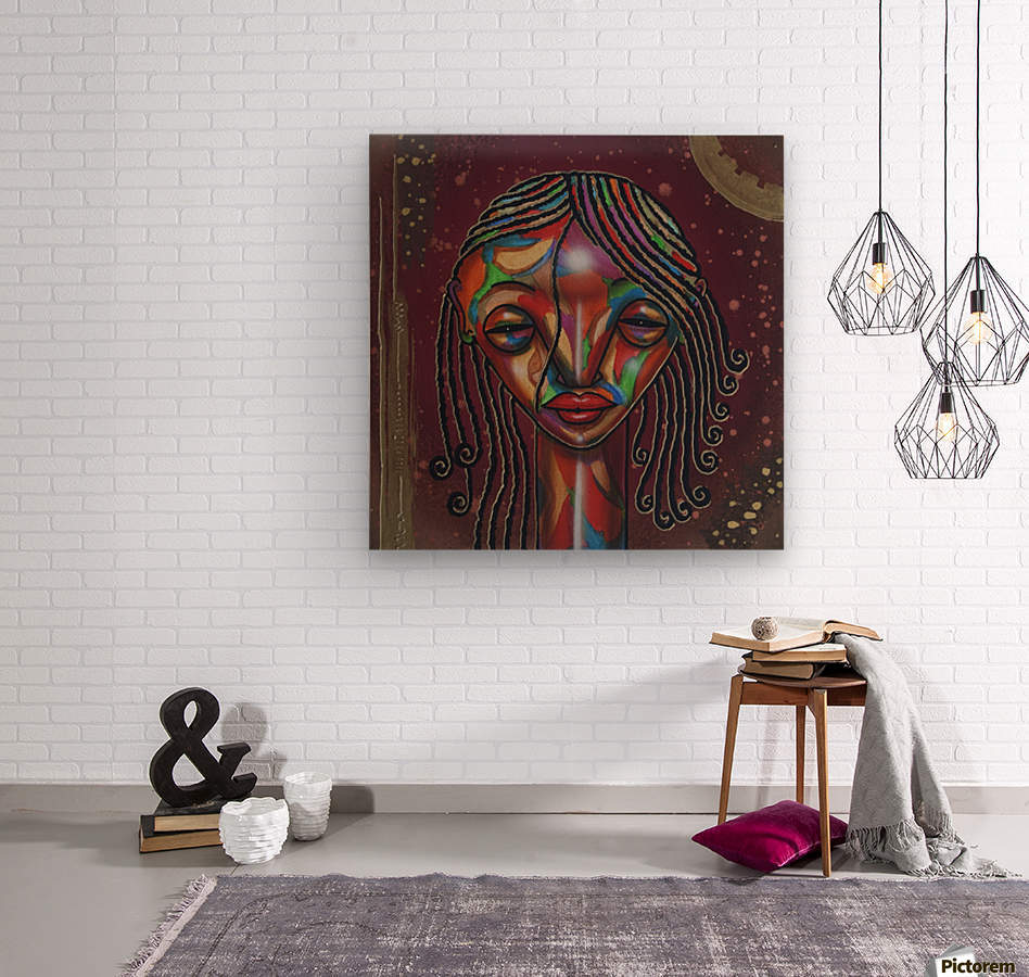 Girl with curlz  Wood print