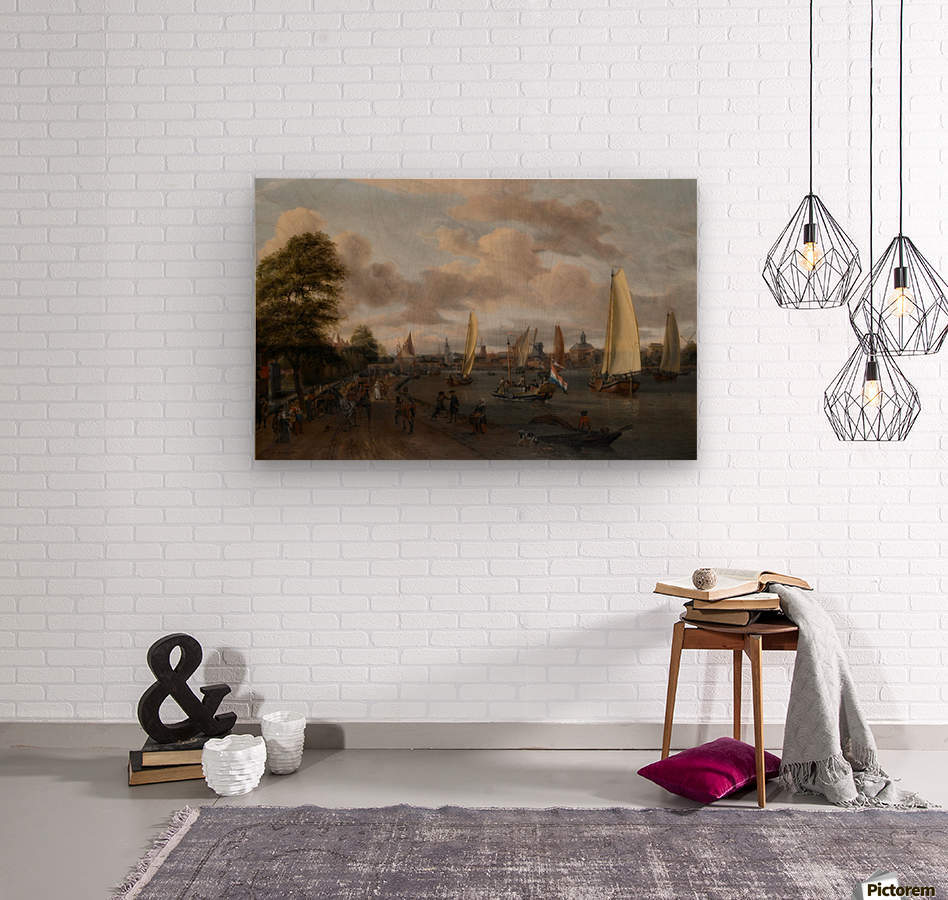 The river Buiten-Amstel with a trekschuit and other shipping  Wood print