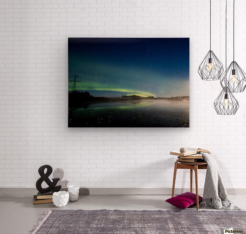 Moonlit Aurora  Wood print