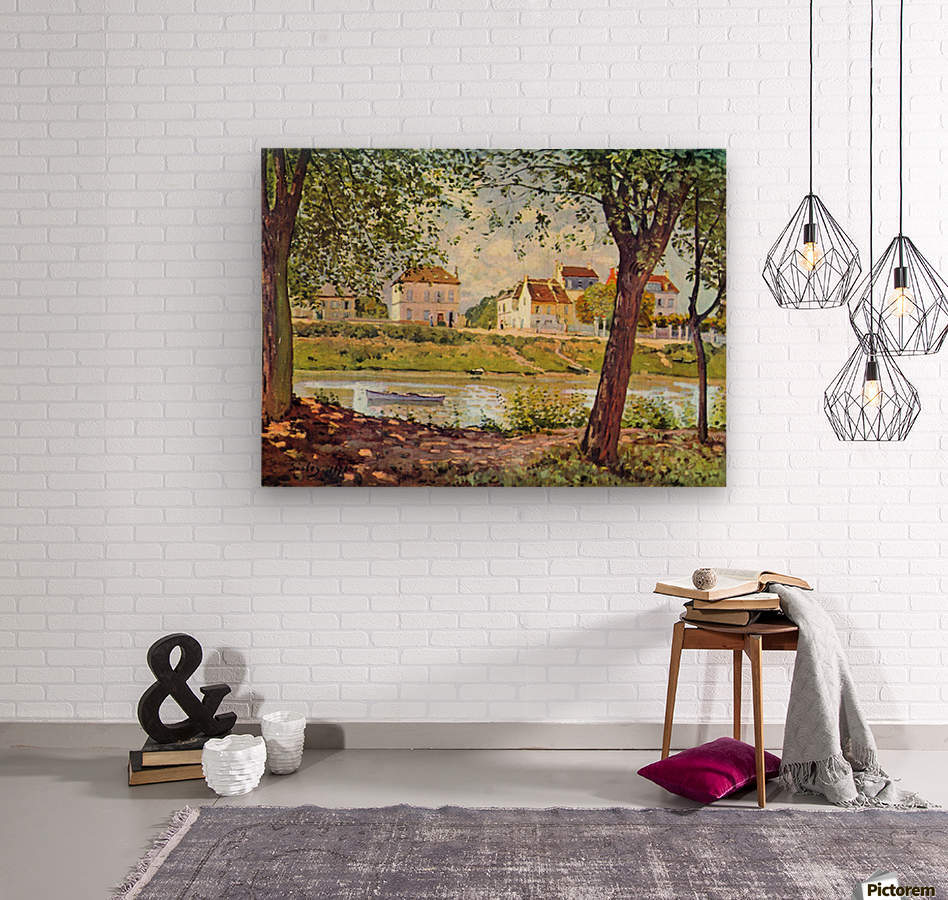 Village on the banks of the Seine by Sisley  Wood print