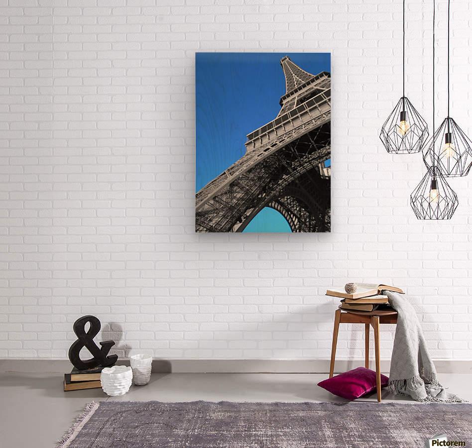 silver Eiffel tower Paris  Wood print