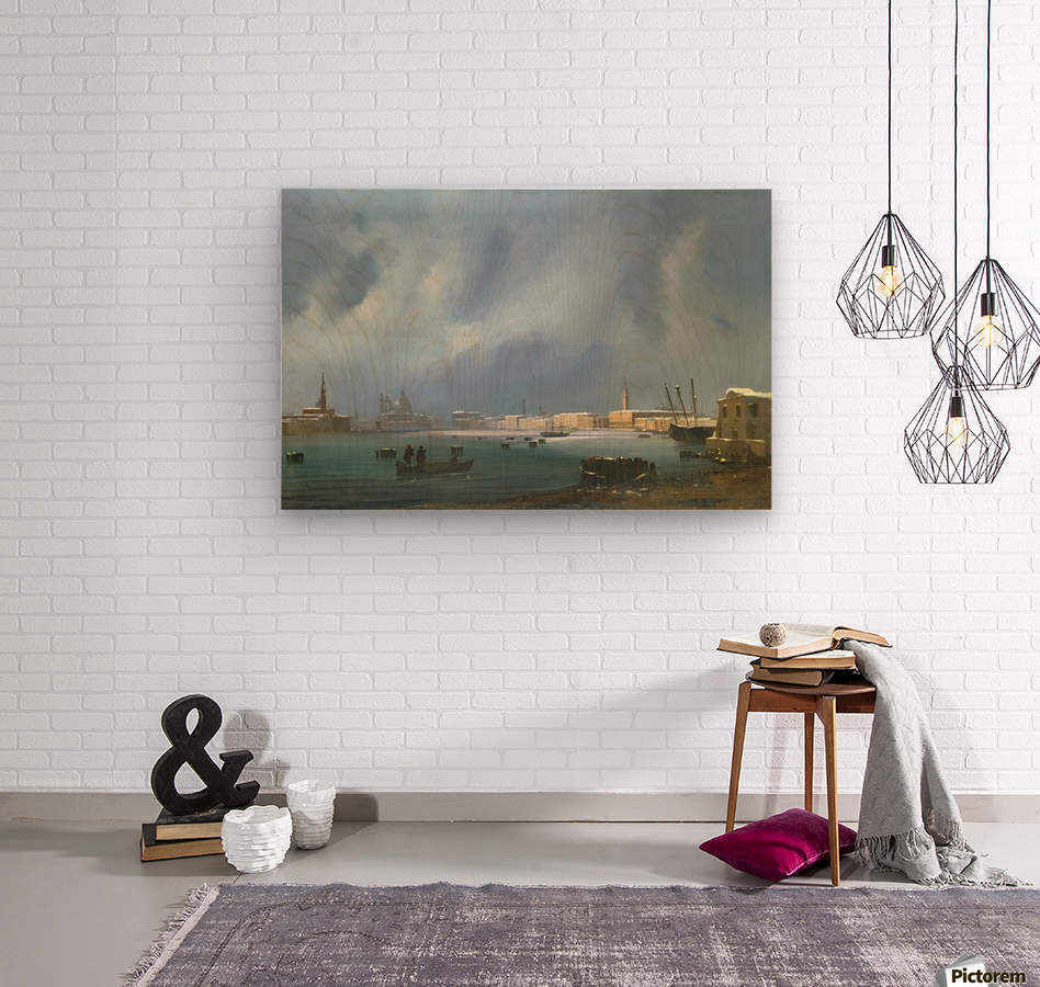 View of St. Mark's Basin in Venice under the snow  Wood print