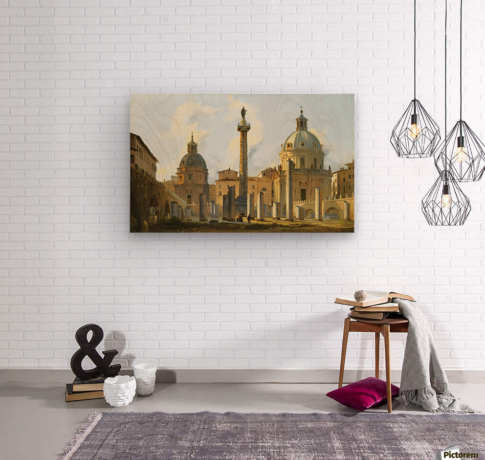 View of Trajan Forum in Rome  Wood print