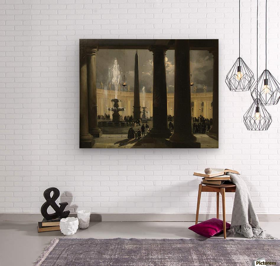 La place saint Pierre de Rome au clair de lune  Wood print