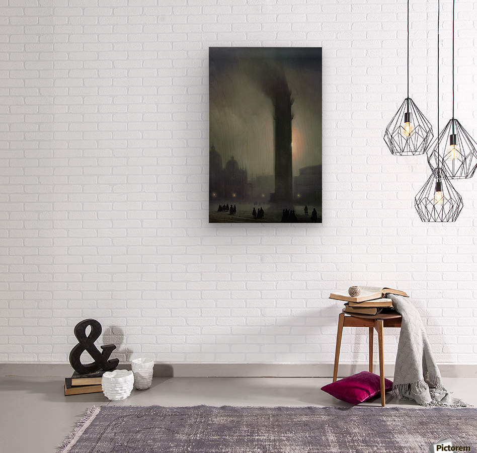 Night with fog in Piazza San Marco  Wood print