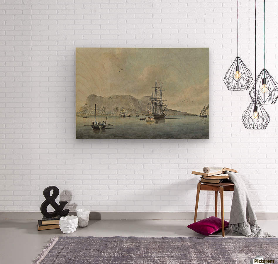 A naval lugger approaches a frigate  Wood print