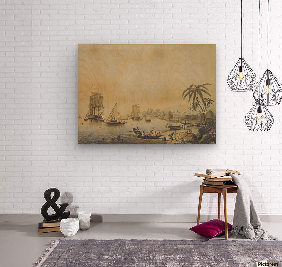 HMS Resolution and Discovery in Tahiti  Wood print