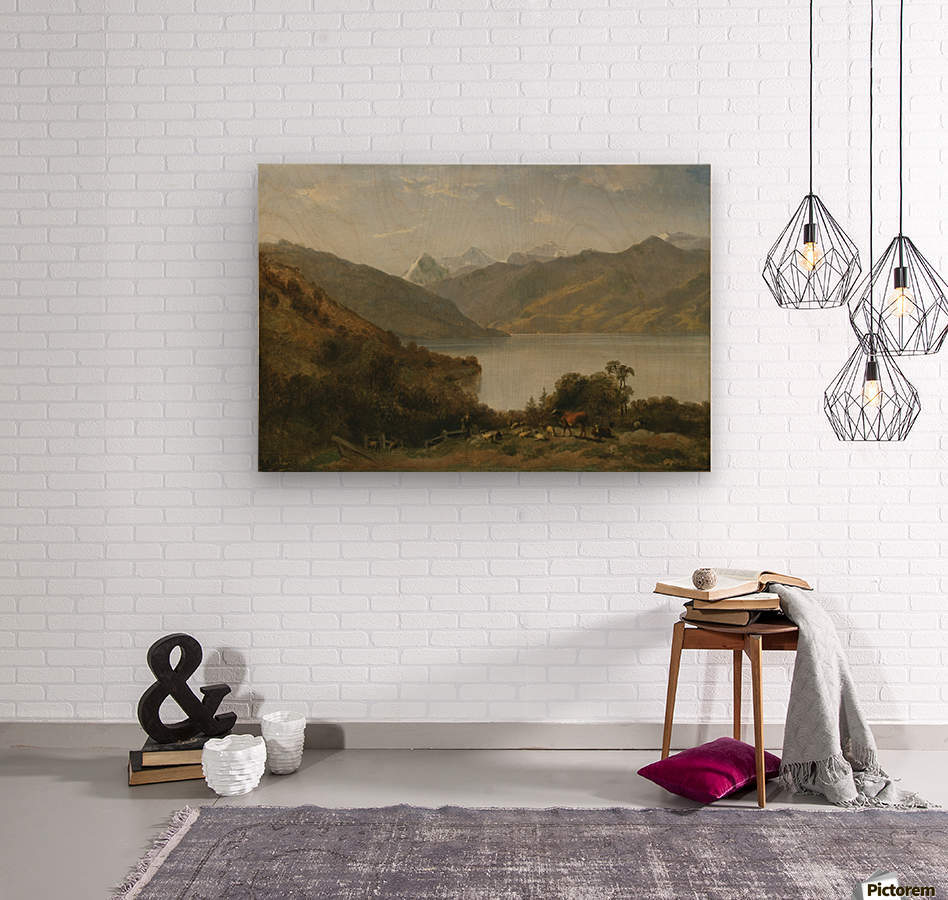 Landscape with a lake and animals  Wood print