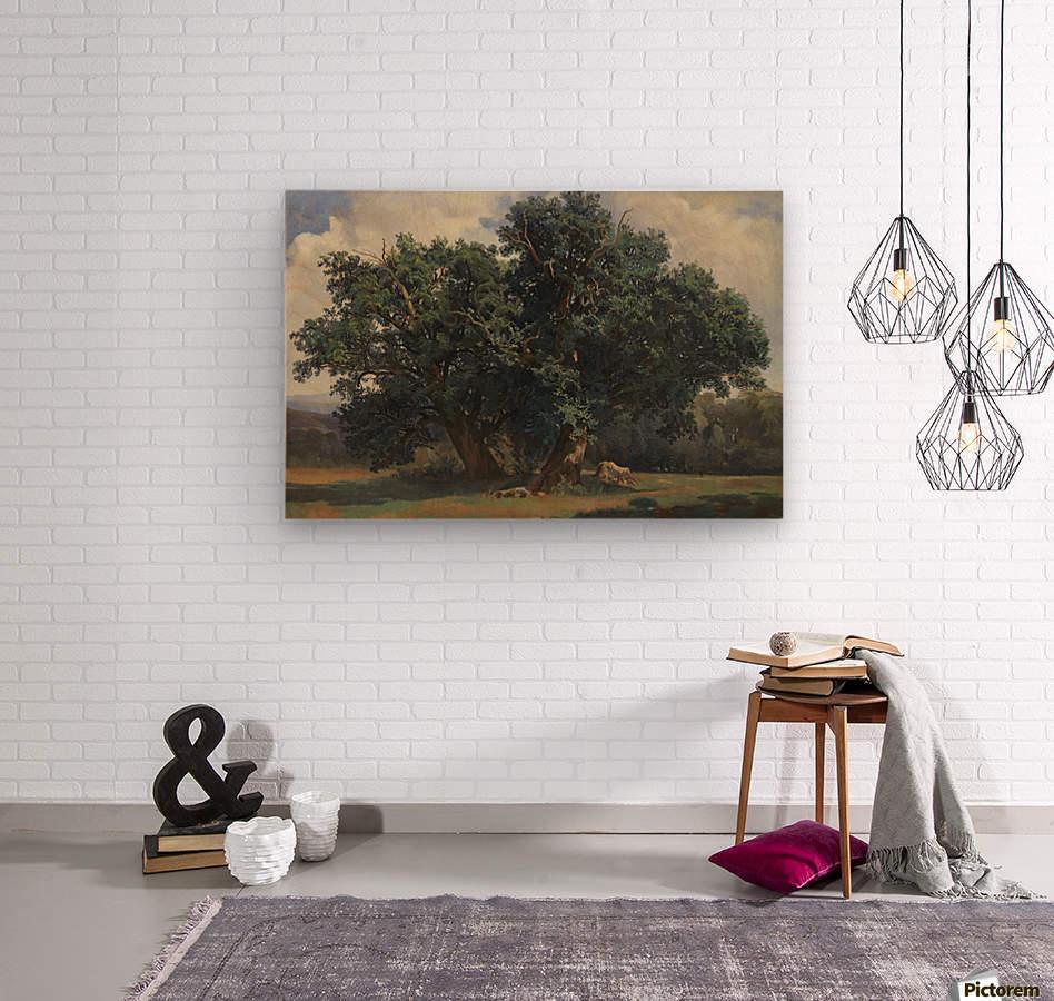 Painting of a big green tree  Wood print