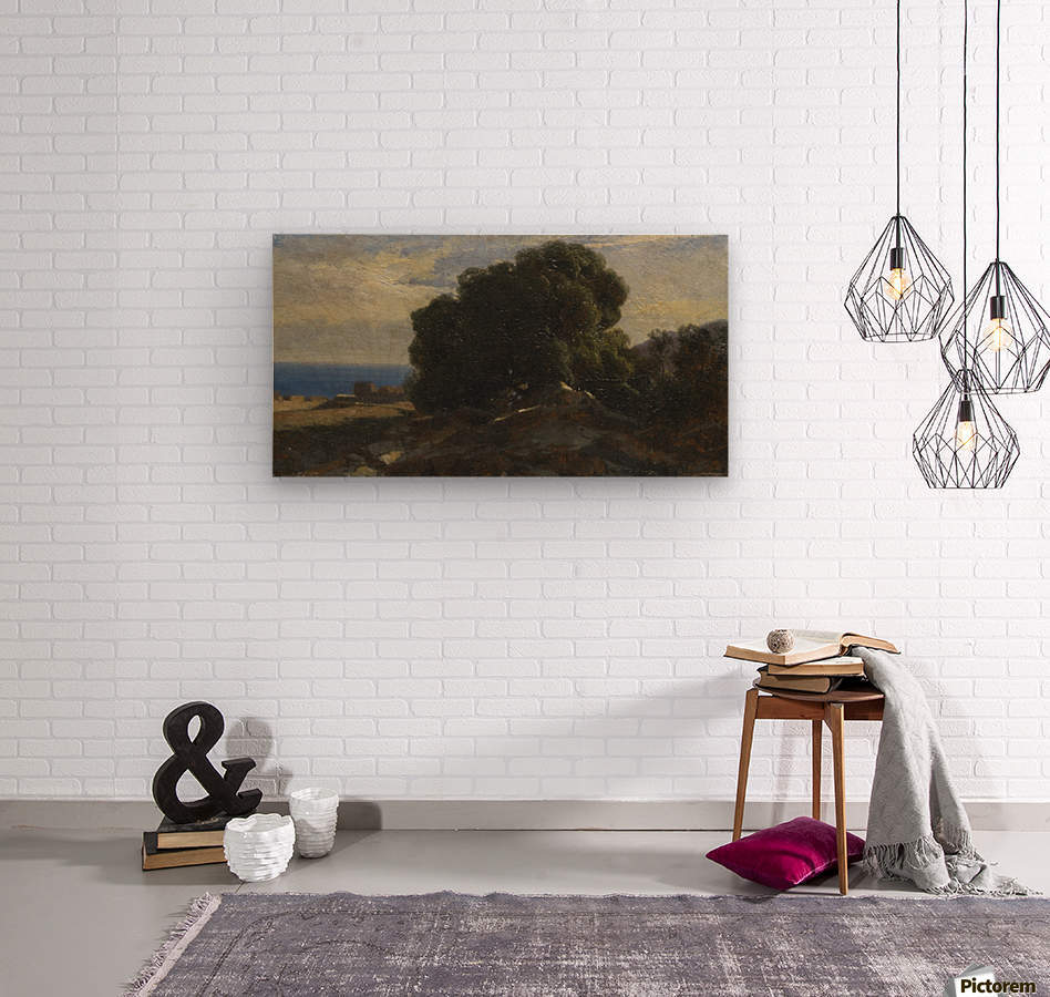 A large tree by the sea  Wood print