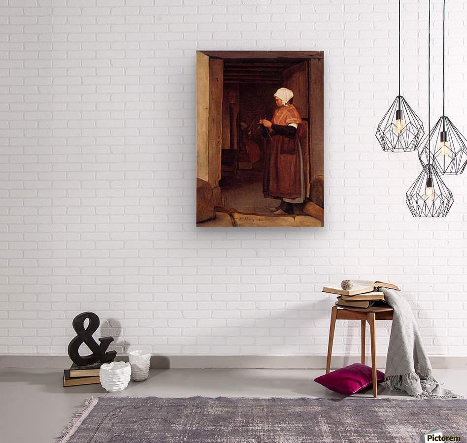 Peasant knitting  Wood print