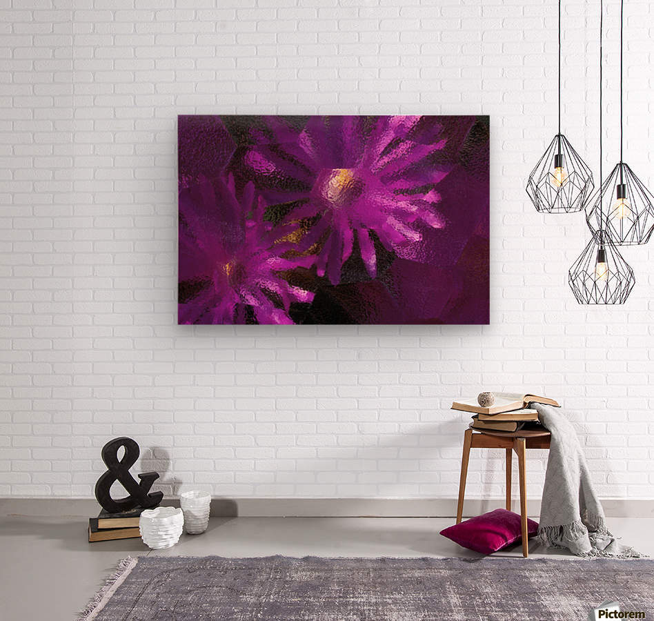 Ice Plant Blossoms Under Ice  Wood print