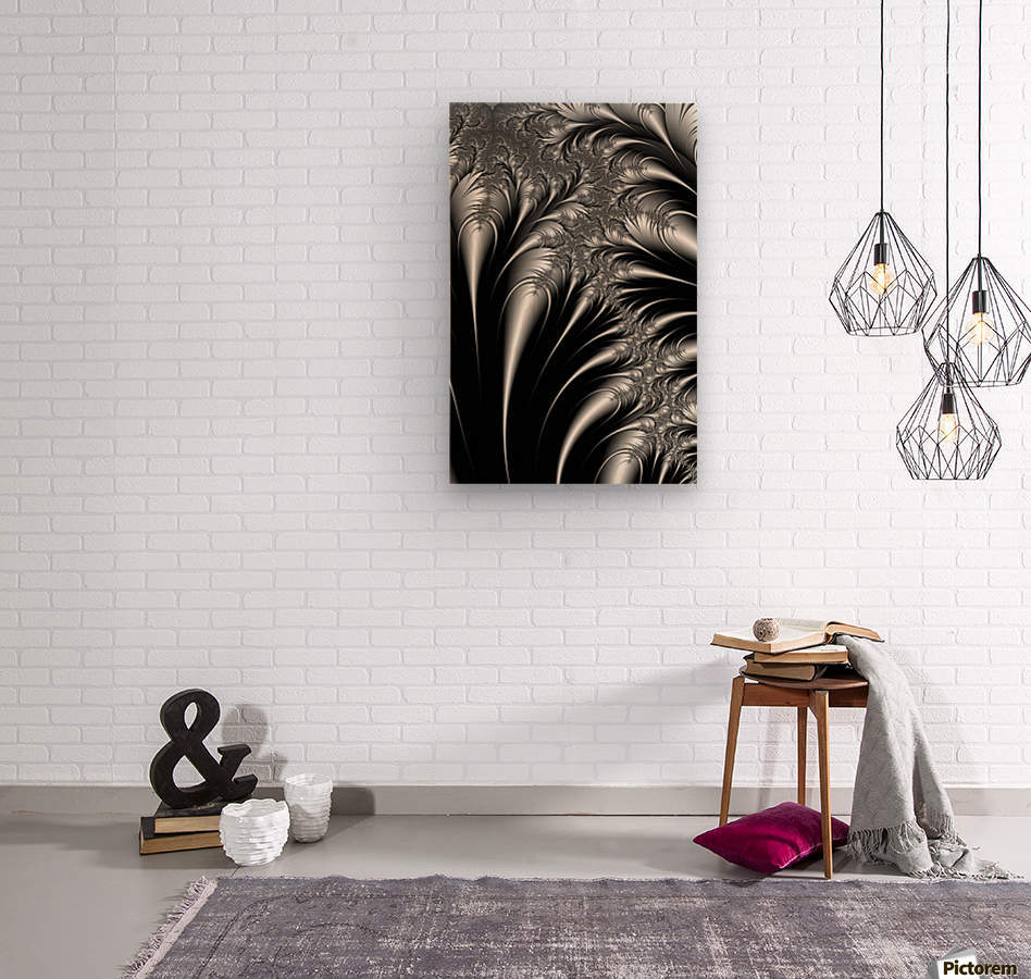Silver And Black Abstract  Wood print