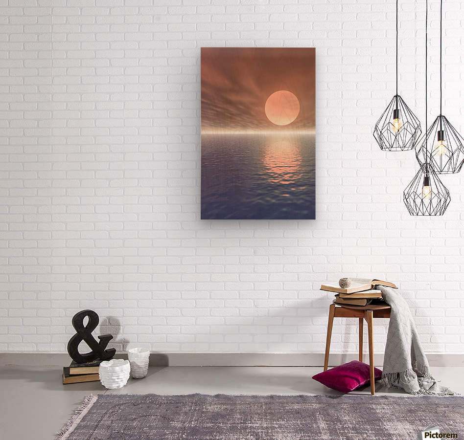 Illustrated Sun Over A Seascape  Wood print