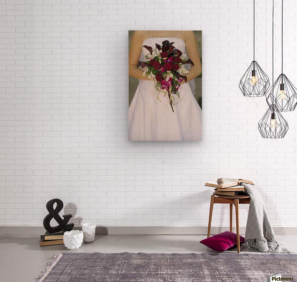 Bride's Bouquet And Wedding Dress  Wood print