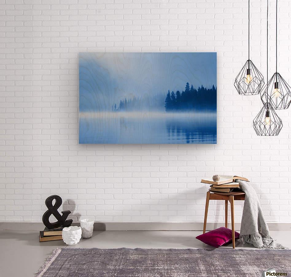 Foggy Lake  Wood print