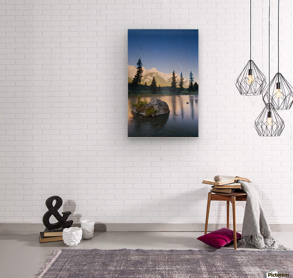 Sunrise And Early Morning Mist On Mountain River  Wood print