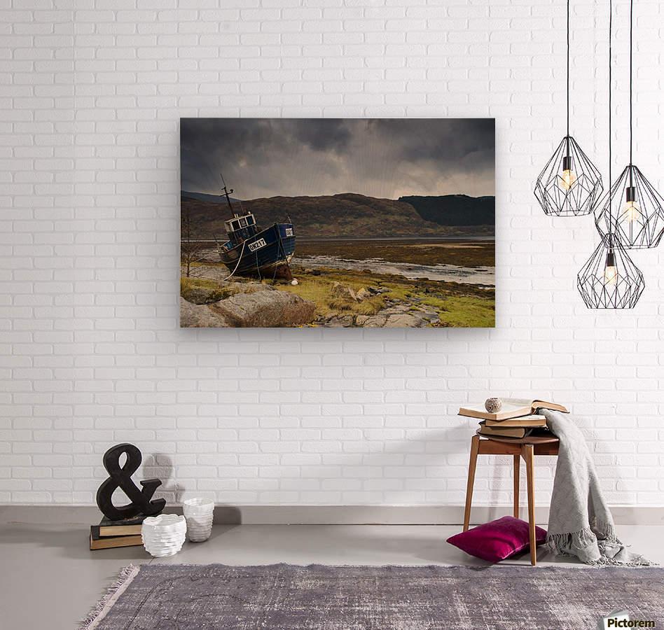 Boat Ashore, Loch Sunart, Scotland  Wood print