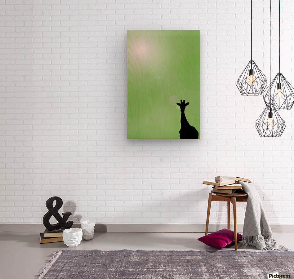 Silhouette Of A Giraffe  Wood print