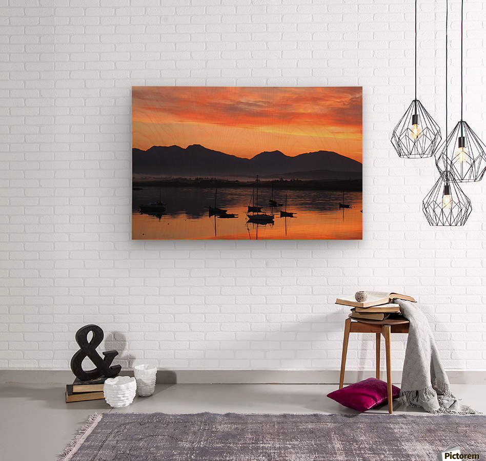 Sunrise At Roundstone Harbour With 12 Bens, Galway, Ireland  Wood print