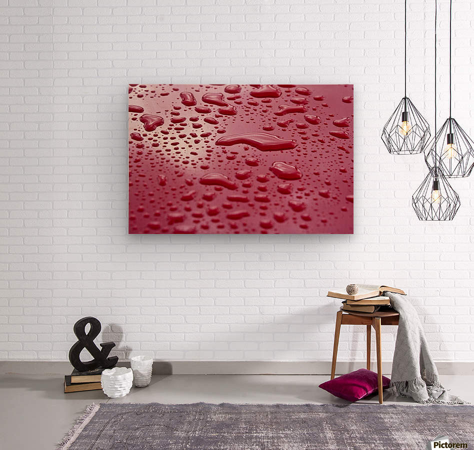 Liquid Drops On Red Surface  Wood print