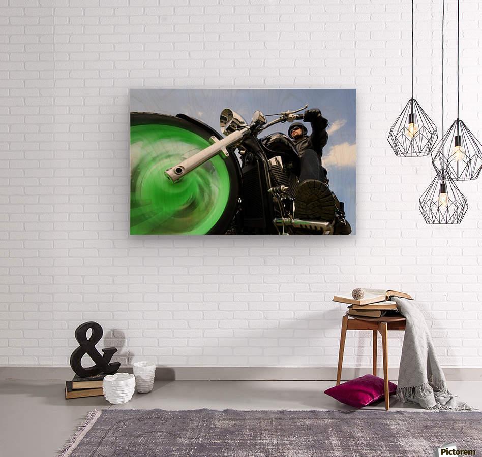 Man Riding A Motorbike  Wood print
