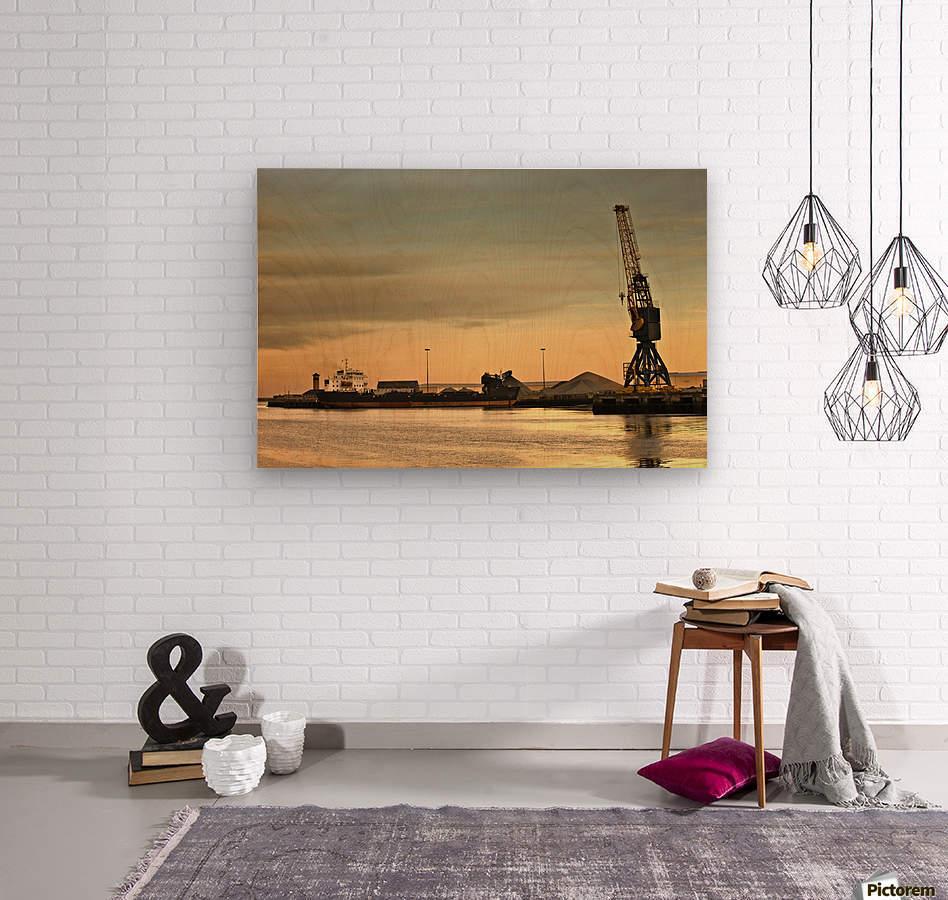 Tyne And Wear, Sunderland, England; Crane At A Shipping Dock  Wood print