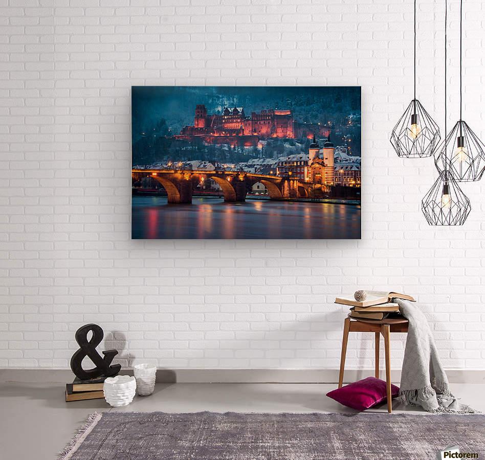 Heidelberg Castle and Old Brige in Winter  Wood print