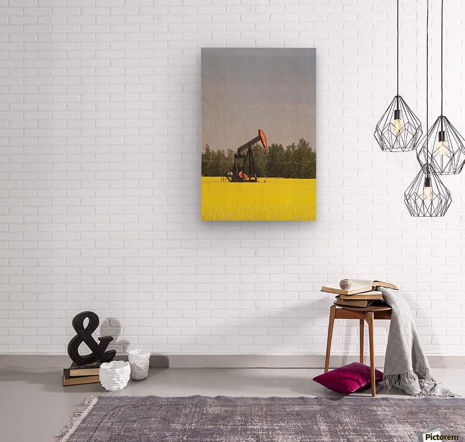 Alberta, Canada; Pump Jack In A Flowering Canola Field  Wood print