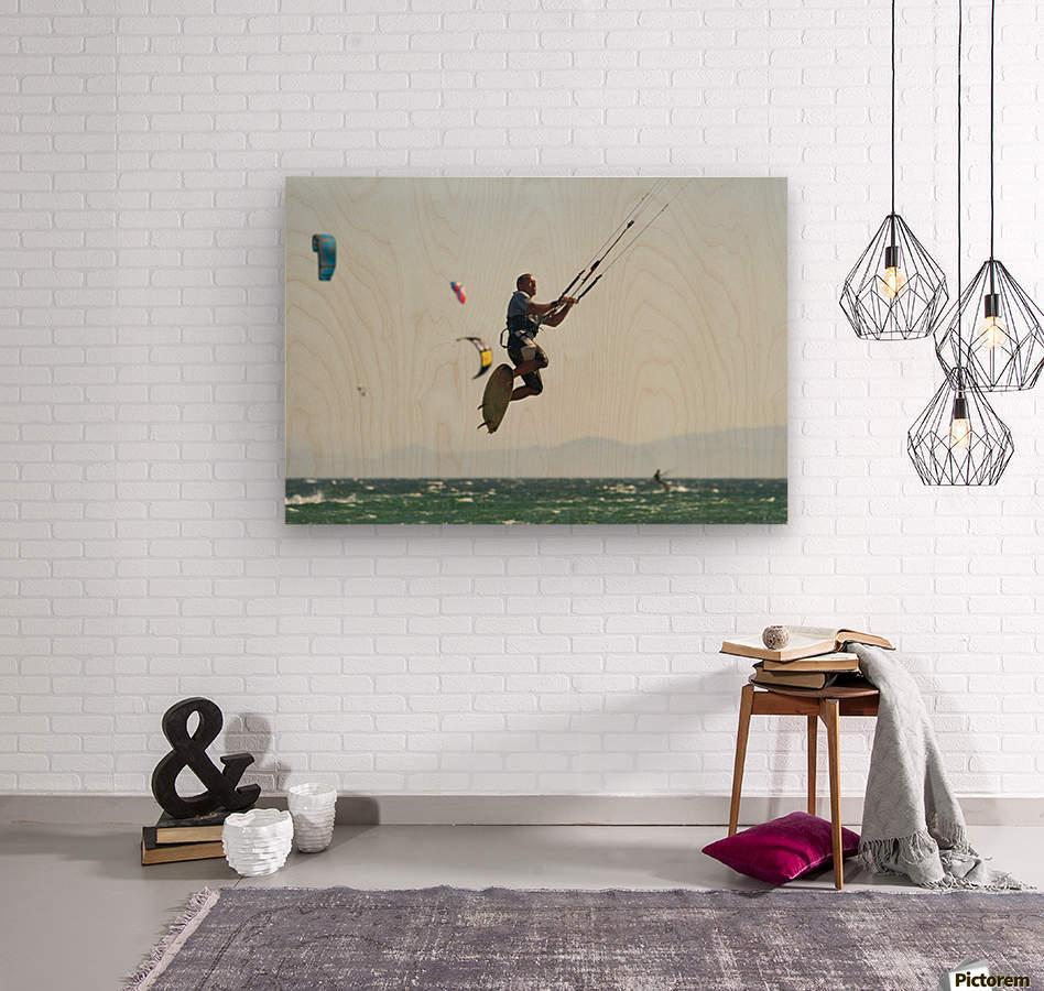 Kitesurfing; Tarifa, Cadiz, Andalusia, Spain  Wood print