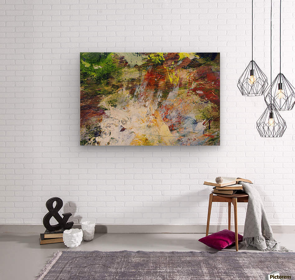 Abstract Oil Painting On Canvas  Wood print