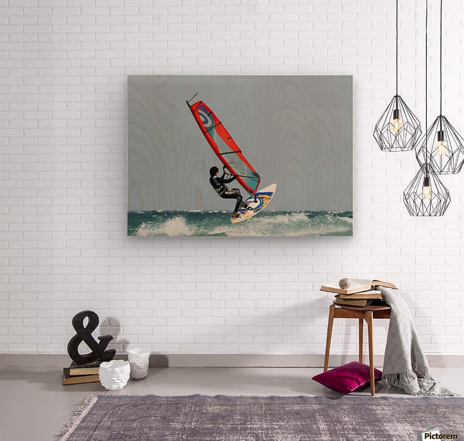 A Windsurfer In The Water; Tarifa, Cadiz, Andalusia, Spain  Wood print