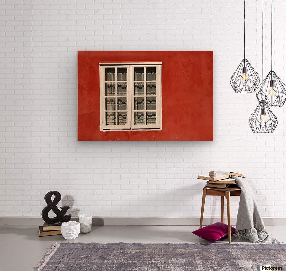 Red Timber House And Window Frame In The Old Town; Porvoo, Finland  Wood print