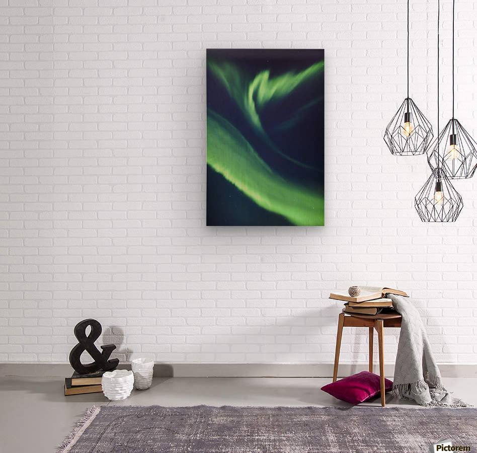 A green northern lights corona in the sky above the tony knowles coastal trail in winter;Anchorage alaska united states of america  Wood print