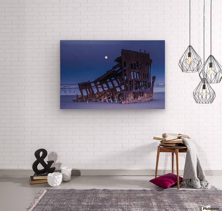 The moon sets over the wreck of the Peter Iredale; Oregon, United States of America  Wood print
