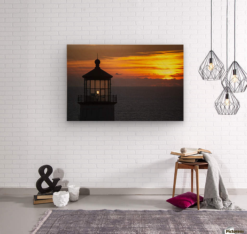 A sunset at North Head Lighthouse; Ilwaco, Washington, United States of America  Wood print
