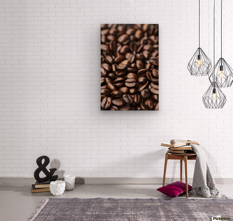Medium dark roast Kona coffee beans close up; Holualoa, Big Island, Hawaii, United States of America  Wood print
