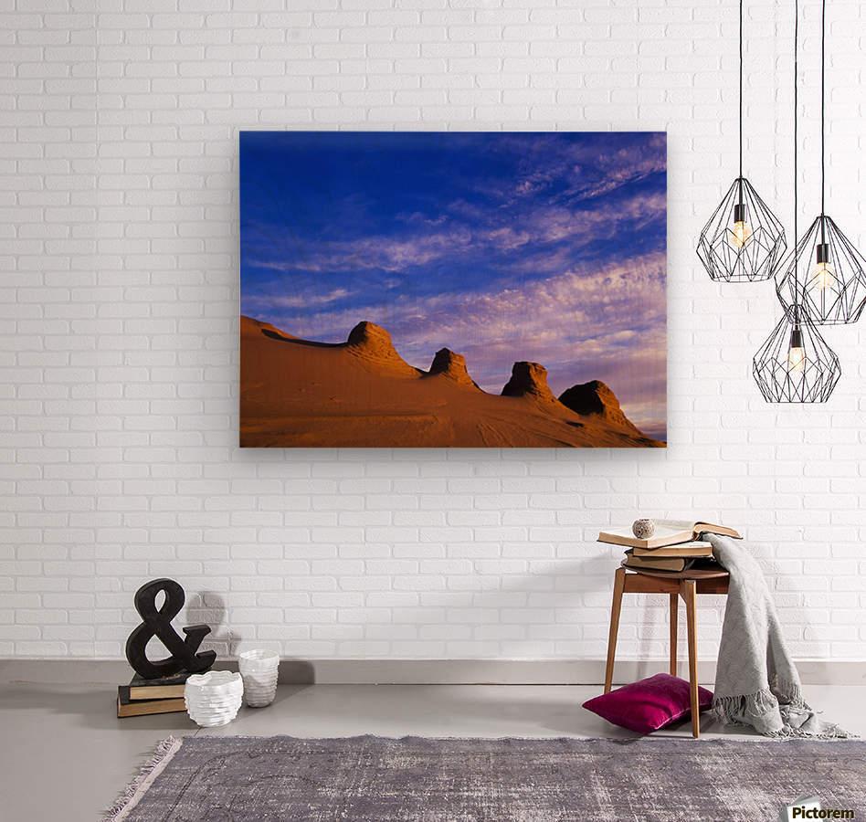 Storms carve sand dunes in peaks; Lakeside, Oregon, United States of America  Wood print