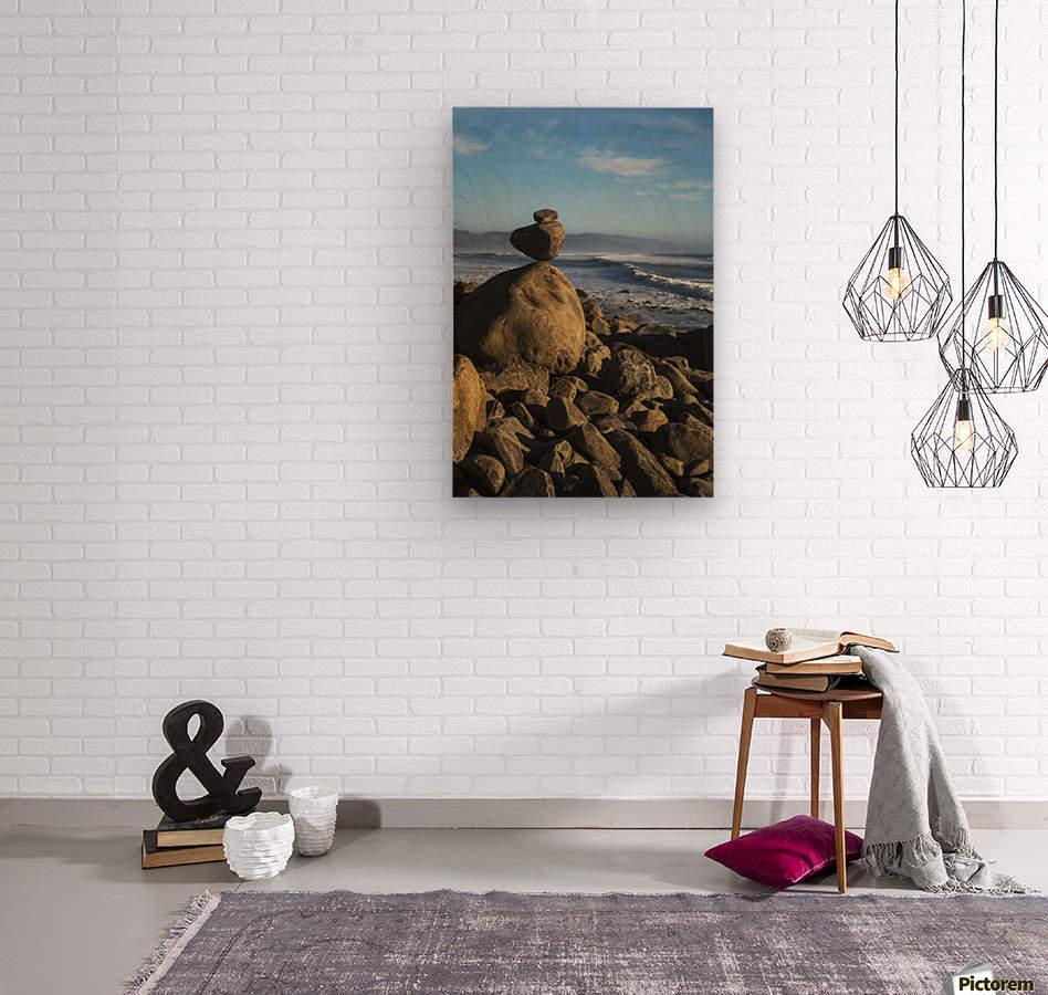 Stones have been balanced on Neahkahnie Beach; Manzanita, Oregon, United States of America  Wood print