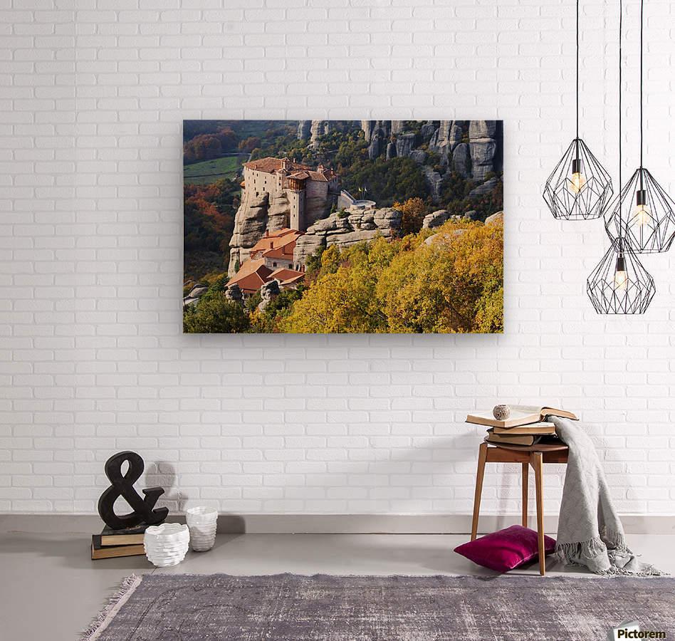 Monastery on a cliff; Meteora, Greece  Wood print