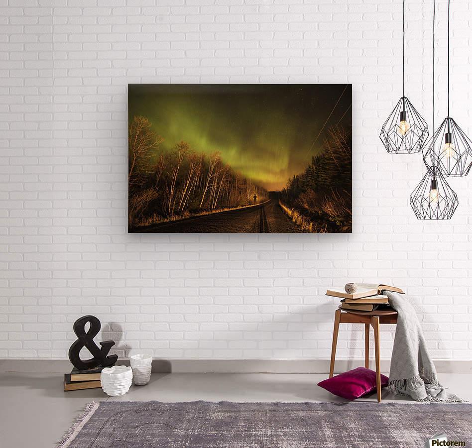 Aurora borealis over road; Thunder Bay, Ontario, Canada  Wood print