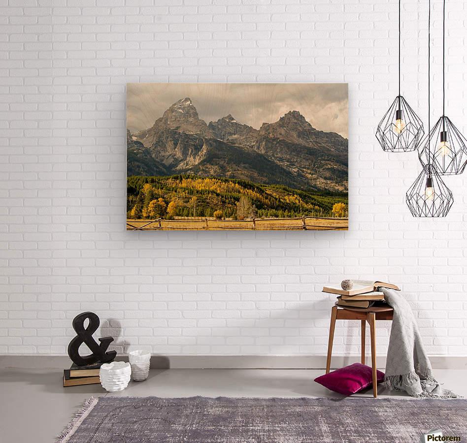 Grand Teton range in autumn, Grand Teton National Park; Wyoming, United States of America  Wood print