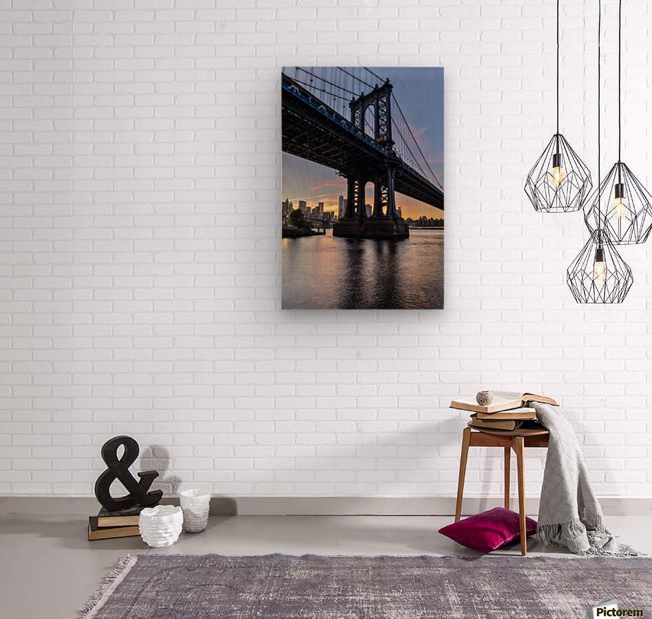 Manhattan Bridge and NYC skyline at sunset, Brooklyn Bridge Park; Brooklyn, New York, United States of America  Wood print
