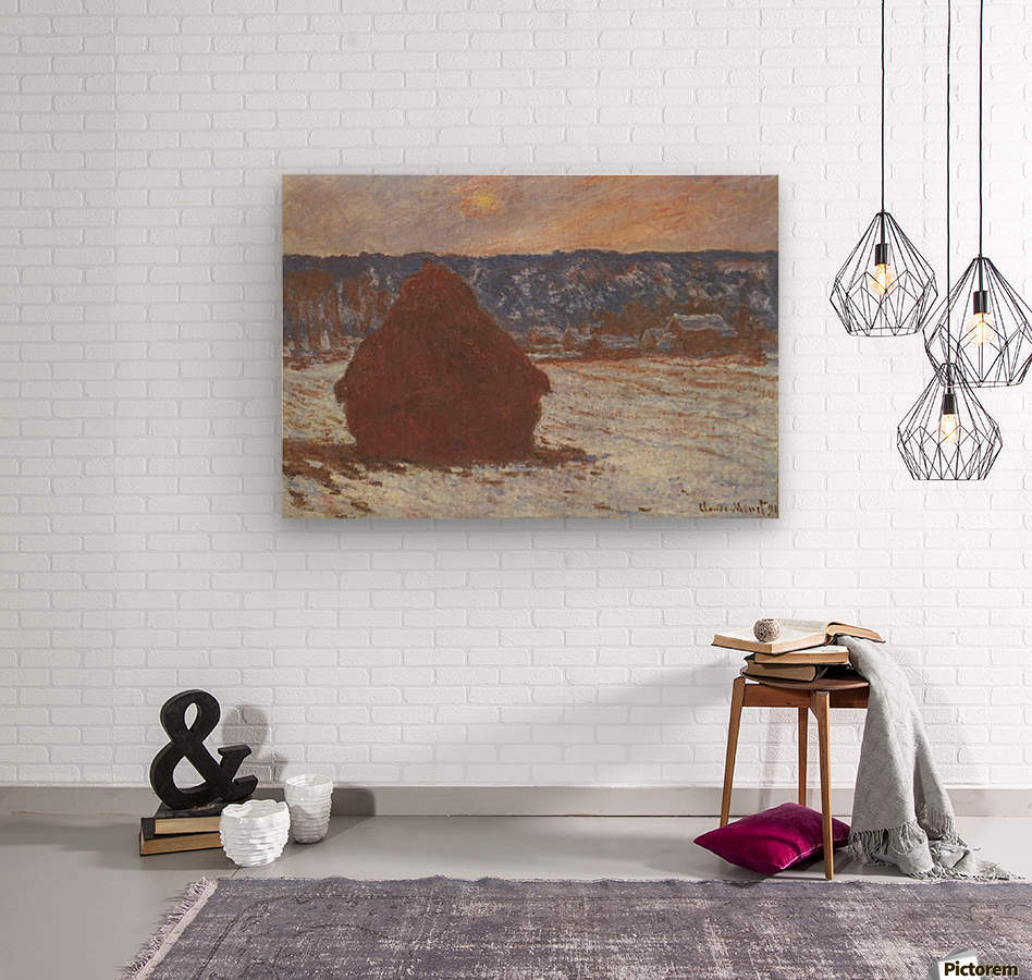 Haystacks, snow, covered the sky by Monet  Wood print