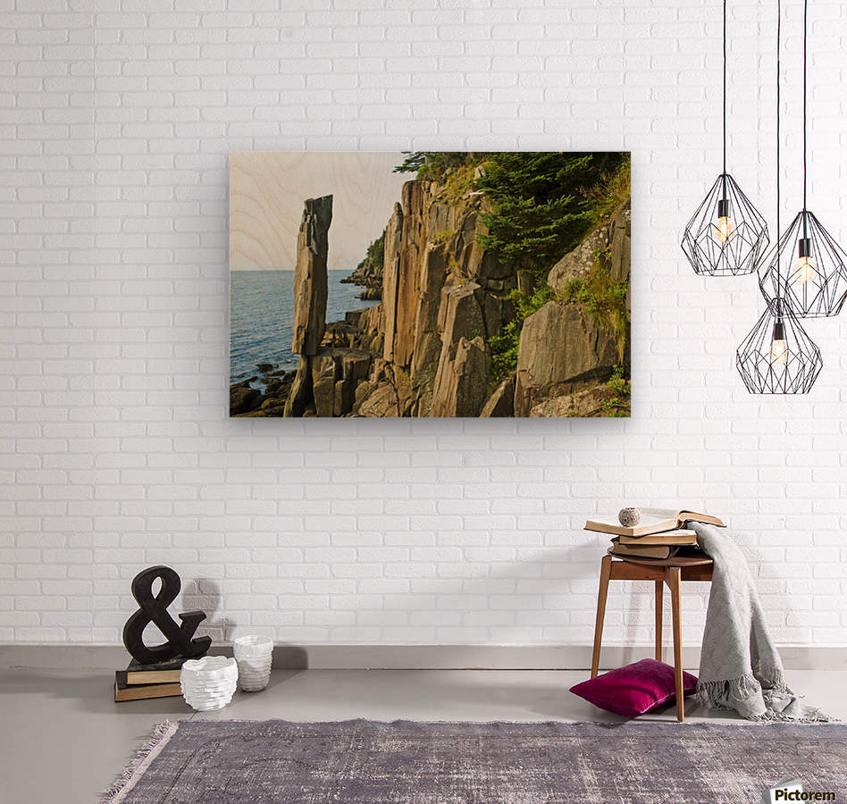 Balancing rock, basalt rock cliffs, Bay of Fundy; Long Island, Nova Scotia, Canada  Wood print