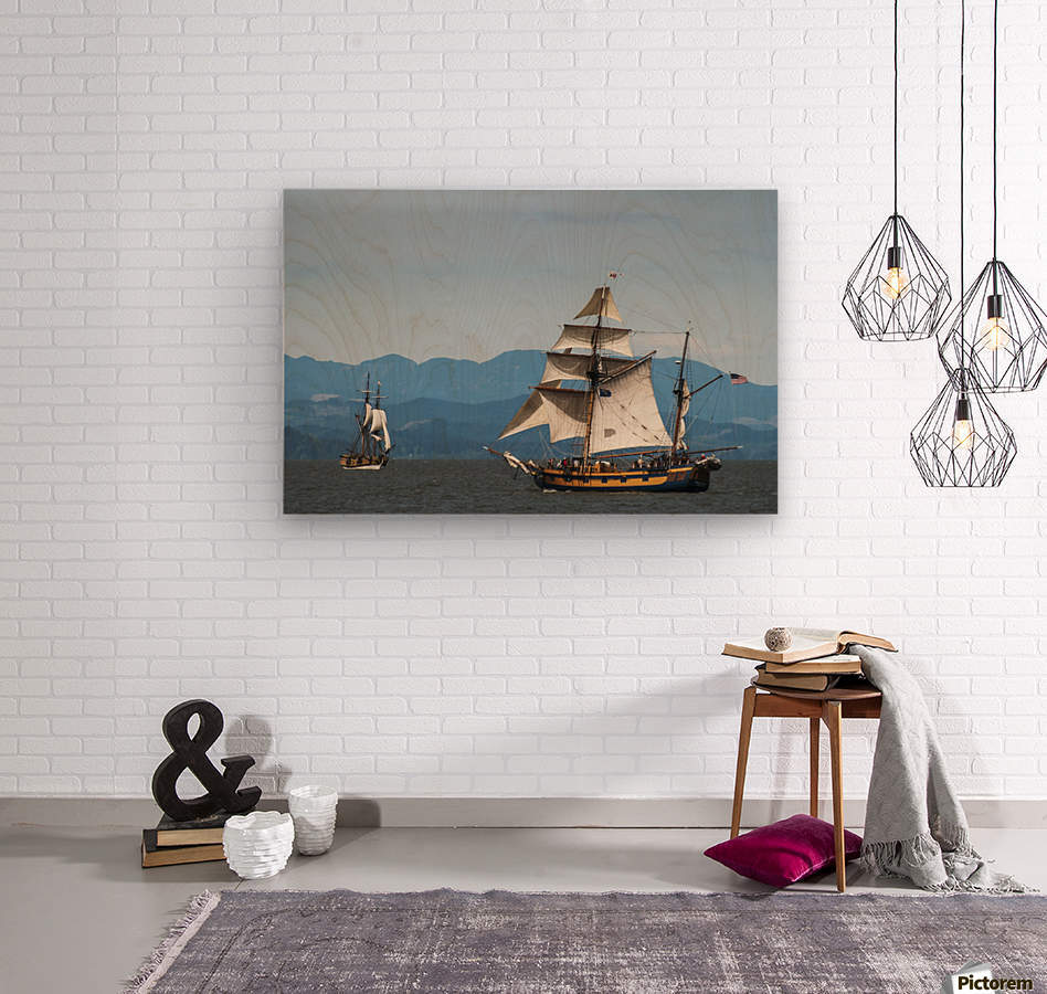 Tall ships sail on the Columbia River near Astoria; Oregon, United States of America  Wood print